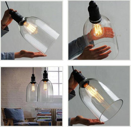 Wholesale Retro Industrial DIY Ceiling Lamp Light Glass Pendant Lighting Home Decor Fixtures Free Edison Bulb E27 V V