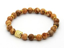 Wholesale Hot Sale Men's Beaded Gold Plated Buddha Stretch Bracelets, Picture Jasper Stone Beads Yoga Jewelry