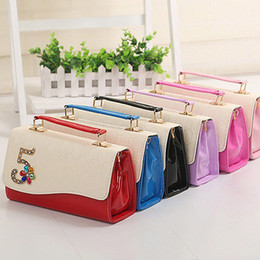 Wholesale-20pcs lot Ladies Dual Purpose Satchels Clamshell Style Leather Handbags With Rhinestone Single Shoulder Bags hb250