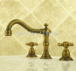 Wholesale Low Cost in Combo Sets Bathroom Basin Antique Faucet Bronze Brushed and Brass Body Mixer Tap ZLY