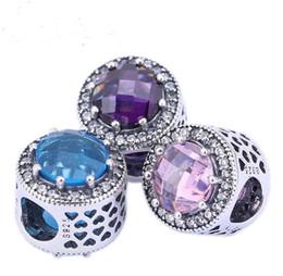 2017 bleu argent Bleu Violet Rose Crystal Clear Coeurs Radiant Argent 925 breloques Argent 925 Perles de bricolage Pour Bracelet ML promotion bleu argent