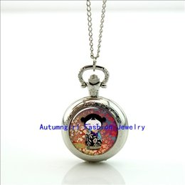 Wholesale Kokeshi Doll Pocket Watch Mini Glass Locket Necklace Style Retro Vine Pocket Watch Necklace WT