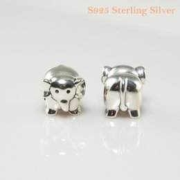 AFRICAN ELEPHANT CHARM DIY Beads Real Solid 925 Sterling Silver Not Plated Fits Original Pandora Bracelets & Bangles & Necklaces