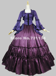 2015 Elegant Purple And Blue Long Sleeves 17th 18th Medieval Gothic Victorian Dress Victorian Clothes for Women