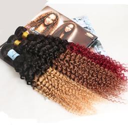 2017 27 bouclés ombre 6A Ombre Extensions de cheveux brésilien cheveux bouclés humains bouquets non transformés deux tons Ombre Kinky bouclés 1B / 27 1B / 30 1B / 99J 1B / rouge 3 4 5pcs / lots 27 bouclés ombre ventes