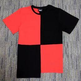 Wholesale 2016 summer 100% cotton mens t shirts RED black patchwork Irregular cutting swag t shirt streetwear hip hop tshirts tees