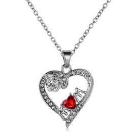 Wholesale-Fashion Women Necklace Jewelry Silver Plated White Rose I Love You Mum Crystal Red Heart Necklace & Pendants Mother's day