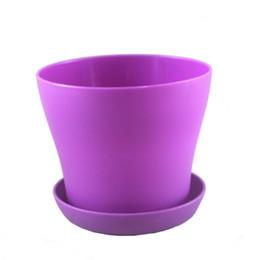 "7 Colors 5"" Mini Plastic Flower Seedlings Nursery Pot Planter Flower Pot with Pallet Top Quality Great For Garden D497E"