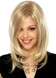 18 pouces perruque synthétique droite à vendre-Perruques Perruques Hot Perruques Cheveux Courts 18 pouces 150g Perruques Cheveux Straight Naturelles avec Bangs Europe populaire Perruques Cheveux synthétiques pour les femmes JF027