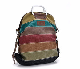 Women Backpack Canvas Stripe Rucksack Multifunction Girls Crossbody Bag Fashion School Bag Bolsas Mochila