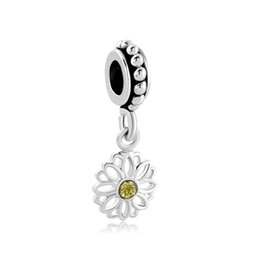 European style metal yellow crystal daisy flower dangle bead infant lucky charms Fits Pandora charm bracelet