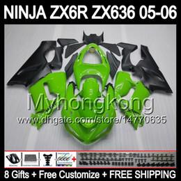 8gifts + Bodywork For KAWASAKI NINJA ZX6R ZX636 05-06 Stock green ZX-6R ZX-636 ZX 6R ZX 636 ZX 6 R 05 06 2005 2006 Green black Fairing Kit