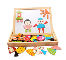 Wholesale-Children's educational toys magnetic 3D puzzle Multifunctional Drawing Writing Board Magnetic Puzzle Double Easel Wooden Toy