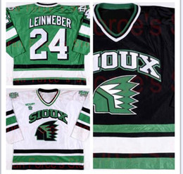 Factory Outlet, 2000-01 Sioux Hockey Jerseys #24 Chris Leinweber Jersey University of North Dakota Game Worn XXS-6XL - Free Shiping