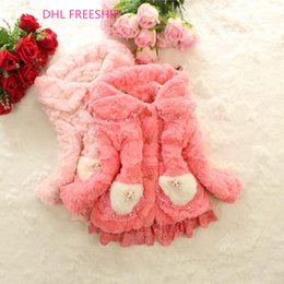 Wholesale DHL FREESHIP Girls coral fabric winter warm coat kids thickened fashion furs outwear coat children cotton coats with lace hem J102402