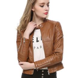 Wholesale-New fashion mandarin collars bomber Leather jackets women supernova shorts coat leather jaqueta couro casual dress pattern