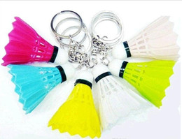 Wholesale 30PCS Creative Badminton Keychain Beautiful Bags Pendant Emulation Plastic Badminton Key Chain Novelty Gifts Mixed Colors