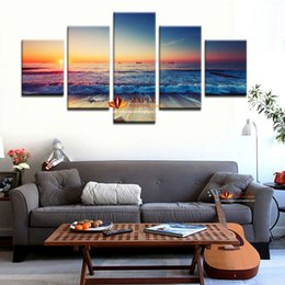 5Pcs Wall Art Set Modern Printed Sea Wave Painting Picture Canvas Art Seascape Painting Decorative Picture Living Room No Frame