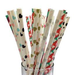 Compra Online Latas de papel-El envío libre 50pcs mezcló pajas de papel de consumición con la decoración grande de la boda de la Navidad del corazón usted puede chooes dos colores