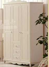 Korean Garden Three Sliding Doors Wardrobe With Drawers Solid Wood Wardrobe Lockers Three Cabinet