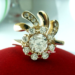 Size 7,8, Jewelry Woman's White Sapphire 18k Yellow Gold Filled Ring Gift (r262)