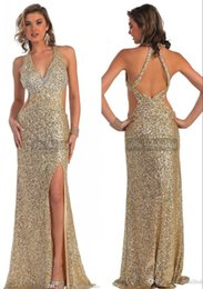 Halter Lace Sequins Celebrity Evening Dress Sheath Christmas Sexy Golden Crystals Criss Cross Straps Runway Fashion Long Prom 2015