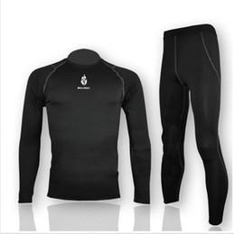Compra Online Capas base-FG1509 WOLFBIKE de polar para hombre de la Base de secado rápido capa bajo desgaste de ciclo Jersey de la bici de manga larga pantalones apretados de los deportes de invierno de ropa