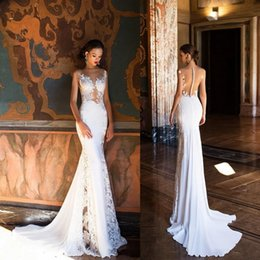 Cheap Milla Nova Mermaid Wedding Dresses 2018 Sexy Sheer Neck Open Back Full Lace Wedding Dress Beach Bridal Gowns