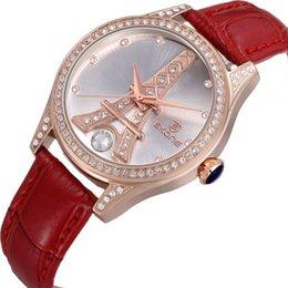 New Design Eiffel Tower SKONE Luxury Women Genuine Leather Strap Watches Women Fashion Wristwatches Japan Quartz