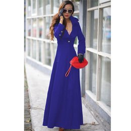 Wholesale-2015 Winter Woolen Extra Long Trench Coat for Women Overcoat Turn Down Collar Floor Length Coat Woman Wool Maxi Dress