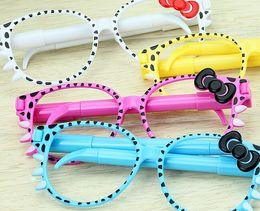 Wholesale-Hot Selling Creative Lovely Cartoon Novelty key shape ballpoint pen HelloKitty glasses pen   gift pen