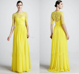 Hot Selling New Zuhair Murad Yellow Prom Dresses Half Sleeve Lace Ruched Chiffon Sheath Floor Length Party Gowns Custom Made P101