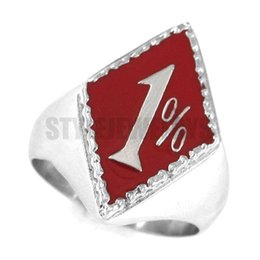 Wholesale Red Biker Ring Stainless Steel Jewelry Classic One Percent Ring Classic Motor Biker Men Ring SWR0154