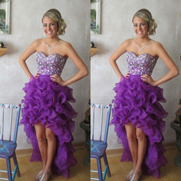 Customers Purple High Low Tiers Prom Dresses Crystal Sweetheart Beading Organza Pageant Dress Hot A line Backless High Quality Real Photos
