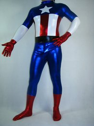 Shiny Metallic Captain America Superhero Costume Halloween Party Cosplay Zentai Suit