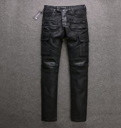 Wholesale Man Balmain Biker Jeans New Fashion Tooling Large Pockets Wax Coating Street Motorcycle Biker Jeans