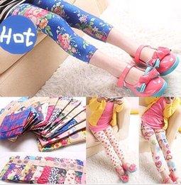 Wholesale 2015 Kids Girls Toddler Pants Trousers Trousers Flower Printed Leggings Age