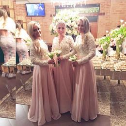 Blush Pink Bridesmaid Dresses Rustic Chiffon A Line V Neck Lace Appliques Peplum Pearls Long Sleeves Maid of Honor Dresses Custom Made