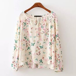 Wholesale summer new European style sweet and fresh butterfly printing system bandwidth of loose hedging long sleeved shirt shirt fem
