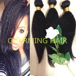 7A++ Brazilian Virgin Human Hair Extension Afro Kinky Straight Coarse Yaki Hair Weft 3pcs Mix Length Free Shipping