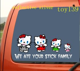 """""""ZOMBIE HELLO KITTY"""" Family Stick Figure funny Car phone window Decal Sticker   reflective silver  reflective red"""