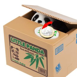 Wholesale New Hot Sale Panda Style Moneybox Stealing Coins Penny Cents Buck Saving Money Box Piggy Bank order lt no track