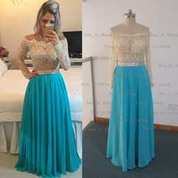 Real Image 2015 Prom Dresses Off Shoulder Long Sleeve Appliques Beading Sequins Chiffon Blue Floor-Length Evening Dresses Dhyz 01