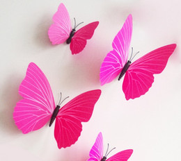 12pieces lot PVC Butterfly 3D Wall Sticker For Kids Room Living Room Decoration Style Choose