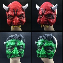 New Ghost Mask Scary Halloween Party Mask Upper-Half Face Latex Mask Carnival Mardi Gras Prop Red Green Color free shipping