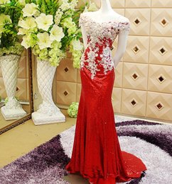 Wholesale Embellished Red Sequined Evening Dresses Off Shoulder Long Mermaid Pattern Lace up Closure Metalllic Formal Dance Gown