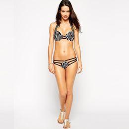Wholesale 2016 Summer Two Pics Animal Printing Sexy Women Bikini Stripes Swimwear High Waist Swearsuit