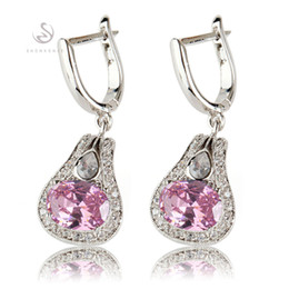 Promotion Best Sellers Favourite The new listing Recommend MN548 Classic Pink Cubic Zirconia Shinning Copper Rhodium Plated Fashion Earrings