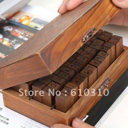 Free shipping wholesale NEW 70pcs set  Number and Letter Wood stamp Set Wooden Box- Upper case