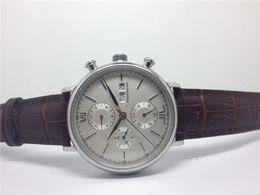 New Arrive Top Men's watch brand quartz stopwatch chronograph wristwatch brown leather band wrist watch for men W13